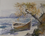 "Original-Aquarell von TONY TONGTERM ""Strand mit Boot"""